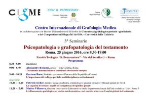 seminario roma psicopatologia grafopatologia testamento cigme